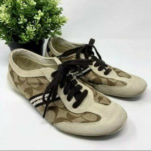 🌳 Coach Beyla Sneakers Brown Suede Lace Up 7.5